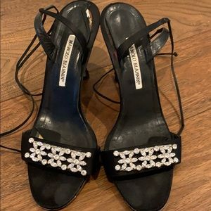 Manolo Blahnik black heels with rhinestone detail